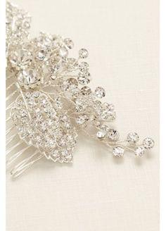 Pave Rhinestone Floral Motif Comb HJ13546 David's Bridal