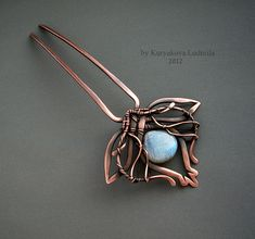 LILY hairpin, copper, labradorite, made by hand without heat or soldering, patinated.  by KL-WireDream on DeviantArt