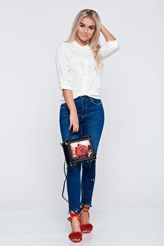 Comanda online, Geanta dama cu tinte metalice rosie accesorizata cu o catarama metalica. Articole masurate, calitate garantata! Top Secret, Mom Jeans, Summer, Tops, Fashion, Dyes, Embroidery, Moda, Summer Time