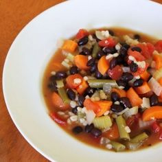 Black Bean and Barley Vegetable Soup. A hearty and delicious vegetarian soup for fall.