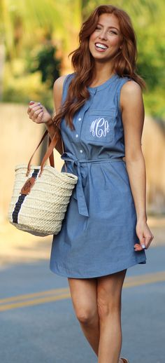 #OOTD on fleek!! We love this new Monogrammed Sleeveless Dress (available in two colors!!)