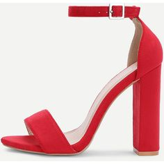 SheIn(sheinside) Two Part Block Heeled Ankle Strap Sandals (110 ILS) ❤ liked on Polyvore featuring shoes, sandals, red, red shoes, red ankle strap sandals, chunky-heel sandals, ankle strap sandals and ankle tie sandals