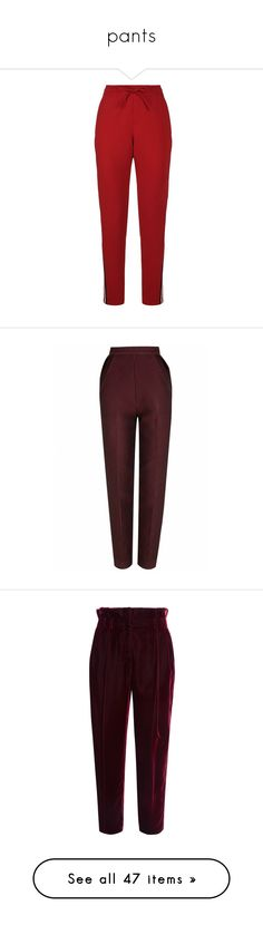 """""""pants"""" by harthkai on Polyvore featuring pants, draw string pants, red pants, elastic waist pants, sport pants, red stripe pants, bottoms, trousers, jeans and burgundy"""