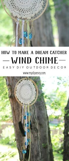 Easy DIY outdoor decor idea - I love this Dreamcatcher Wind Chime.  This craft project is so easy to make and makes a beautiful homemade gift idea.