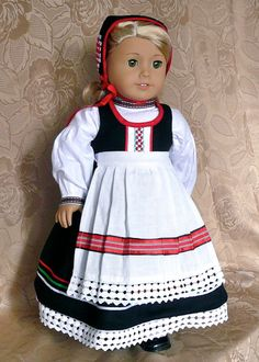 RESERVED FOR ME.  American Girl, 18 inch doll clothes: Scandinavian style folk dress with blouse, apron, cap, and pantalettes on Etsy, $95.00