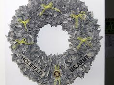 Got this from luvmyarmyboy.blogspot.com   ACU Deployment Wreath      ACU fabric-I used  2 uniforms but you can use one. Using two uniforms m...