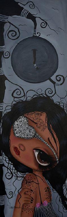 Moonlight Serenade by Dottie Gleason Big Eye Girl Canvas Art Print