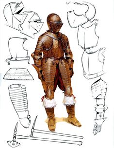 The English Civil War 1642-1651: The cuirassier, with variations of helmets and items of armour.
