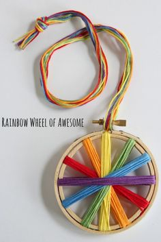 We're having fun with rainbow crafts this month to celebrate St. My kids go gaga for all things rainbow, anything that will lead them to a leprechaun. So here's a fun rainbow wheel of awesome as we threaded. Rainbow Activities, Rainbow Crafts, Craft Activities, Crafts To Make, Fun Crafts, Crafts For Kids, Arts And Crafts, Embroidery Hoop Crafts, Embroidery Art