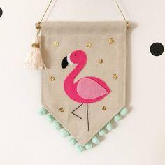 Mini version of our popular Flamingo banner! W x L (approx) Tasmanian Oak rod Felt Crafts, Fabric Crafts, Sewing Crafts, Sewing Projects, Diy Crafts, Felt Wreath, Felt Garland, Diy Banner, Wall Banner