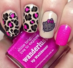 How to create leopard nail art Tutorial Leopard Nail Art, Leopard Print Nails, Pink Nail Art, Cute Nail Art, Emo Nail Art, Pink Cheetah Nails, Leopard Prints, Red Nail, Nail Art Designs Videos