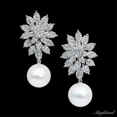 2pcs Australian natural pearls (12.5 - 13mm) round,marquise & princes cut diamond 4.10cts