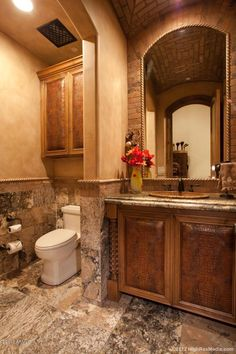 Mediterranean design Powder Room Simmons and Saray Interiors