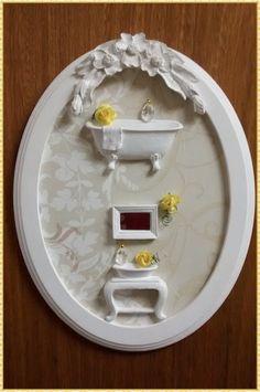 Cenário Oval de lavabo/banheiro - yellow