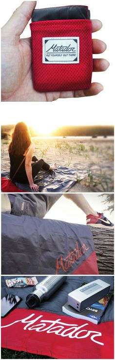"""The Matador Pocket Blanket is small enough to fit neatly into your pocket or purse but unfolds to a 55"""" X 44"""" picnic blanket that fits two."""