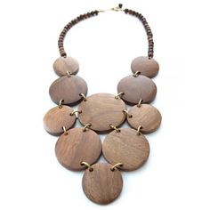 Wooden circles necklace - Stones Throw necklace | Mata Traders:... ($34) ❤ liked on Polyvore featuring jewelry, necklaces, stone jewelry, fair trade jewelry, brown jewelry, brown necklace and mata traders