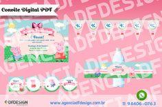 Kit Decoração Festa Peppa Pig Digital JPEG/PDF para imprimir composto de: 3 toppers 5x5cm, 1 tag de agradecimento quadrada 5x5cm, 1 rótulo para garrafa de água 21×4,5cm, 1 convite 10x15cm e as bandeirolas com nome e a idade da criança 15x20cm.