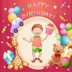 Buy Happy Birthday Illustration by loradora on GraphicRiver. Happy birthday illustration with happy boy holding a gift box. File saved in EPS 10 format contains outlined text and. Happy Birthday Kiss, Birthday Greetings For Kids, Happy Birthday Card Design, Cool Birthday Cards, Happy Birthday Greeting Card, Baby Boy Birthday, Birthday Wishes, Happy Birthday Invitation Card, Birthday Sentiments