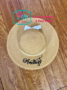 48ab3d77 Infant/Toddler Floppy Beach Hat Personalized w/FREE Name/Monogram, Straw Hat,  Sun hat, Embroidered floppy hat, Beach Hat, Straw Beach Hat
