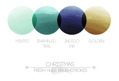 hues -- minted, enameled teal, indigo ink, golden (lovely Christmas palette)