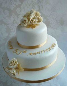 Two Tier Golden Anniversary Wedding Cake Design. Two Tier Golden Anniversary Wedding Cake Design. Golden Anniversary Cake, 50th Wedding Anniversary Cakes, Anniversary Ideas, Wedding Cake Fresh Flowers, Square Wedding Cakes, Cake Decorating, Decorating Supplies, Cake Pictures, Cake Images
