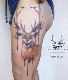 Colored deer thigh tattoo