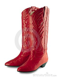 Red cowgirl boots, isolated