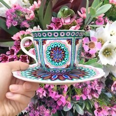 'Kaleidoscope' teacup, hand painted by The Quirky Cup Collective