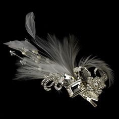 Silver-Ivory Rhinestone Floral Galore Bridal Feather Hair Brooch & Feather Fascinator Hair Clip Silver Ivory & White