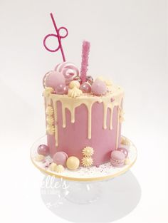 Pink And Yellow Drip Cake By Jenelle S Custom Cakes