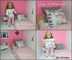 Paris Themed 3 piece bedding fits American by GiGisDollCreations