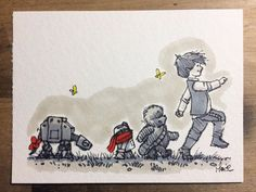 Han Solo as Christopher Robin Chewbacca as Winnie the Pooh R2D2 as Piglet AT-At as Eeyore Adorable <3