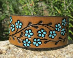 Hand Painted Tooled Leather Cuff Bracelet  Scroll Butterfly
