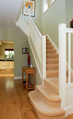 Click Call 9245 7508 Competent in all aspects of plumbing, gas installations and kitchen and Bathroom Renovations for your home without any hassle. click the image or link for more info. Style At Home, Wooden Floors Living Room, Staircase In Living Room, Hall Colour, Landing Decor, Cottage Shabby Chic, Hallway Colours, Hallway Colour Schemes, Green Hallway Paint