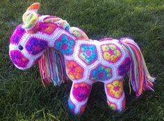 Fatty Lumpkin the Brave African Flower Pony pattern by Heidi Bears Crochet Toys, Knit Crochet, Flower Granny Square, African Flowers, Brave, Pony, Crochet Patterns, Christmas Ornaments, Vintage
