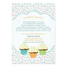 "Cupcake Sprinkle Baby Shower Invite neutral colors 5"" X 7"" Invitation Card"