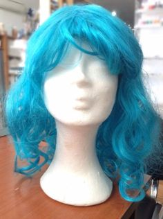 Blue-Wig-Curly-Medium-Long-Anime-Cosplay-Halloween Blue Wig, For You Blue, Medium Long, Anime Cosplay, Wigs, Curly, Halloween, Hair, Halloween Stuff
