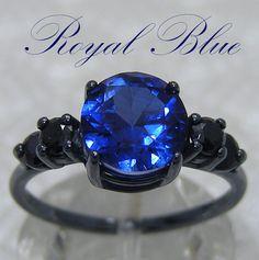 Black Engagement Ring  Black Silver por LabCreatedGemJewelry
