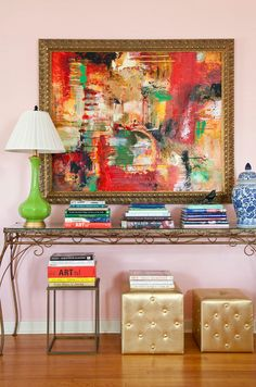 A painting by Malvern native Beverly McLarty features a frame from Backwoods Art & Frame. The green lamp is from Murphy Long Design; the console table is a family heirloom. Interior Design Blogs, Interior Inspiration, Interior Decorating, Design Inspiration, Design Ideas, Ottoman In Living Room, Eclectic Living Room, Dining Room, Mid-century Modern