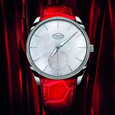 Red & Black Essence ✦ Parmigiani Fleurier's new Tonda 1950 with a diamond set case and mother of pearl dial is exquisitely feminine yet bold and modern.     ✦  https://www.pinterest.com/sclarkjordan/red-black-essence/