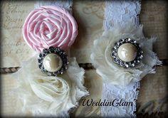 Fall Wedding Garter - Ivory Lace Garter Set -Bridal Garter - Vintage Garter - Pink Wedding -Pink garter- Wedding accessory