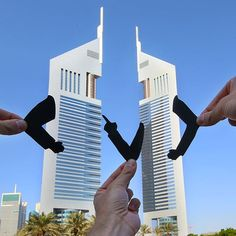 """Well one of us has to go home and change"" @visit.dubai #MyDubai #DubaiTomorrow @JumeirahGroup #StayDifferent #JumeirahET #EmiratesTowers #Dubai #Paperart #Silhouette #Funny #TravelStoke #Travel #PassionPassport #ArchitectureLovers #ArchitecturePorn #Hotel #Cityscape #ArtOfVisuals #TravelAwesome"
