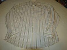 Mens Hugo Boss 16 34/35 striped long sleeve shirt white multi casual EUC@ #HUGOBOSS #ButtonFront