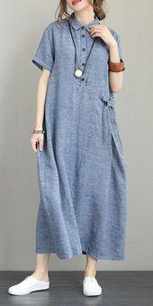 Vintage Loose Maxi Dresses Women 100% Linen Clothes Q1231 #Clothes #Dresses #linen #loose #Maxi #q1231 #vintage #women