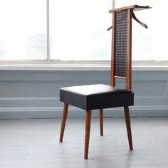 Vintage, Valet, Butler, Gentlemanu0027s Chair, Mid Century Modern, Oak, Seat  With Storage Compartment