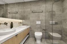 Designed by KUD and supplied by G-Lux. Porcelain tiles on the back wall Porcelain Tiles, Bathroom Inspiration, Natural Stones, Toilet, Bathrooms, Wall, Projects, Design, Toilets