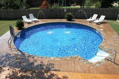 Beautiful small round inground swimming pool designs with basketball ring