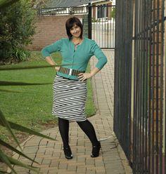 Black and white striped skirt, green cardigan  Truworths, Jet, Edgars
