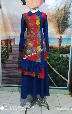 Model Dress Batik, Batik Dress, Hijab Fashion, Fashion Dresses, Abaya Designs, Muslim Dress, Hand Embroidery Stitches, Kebaya, Dress Muslimah