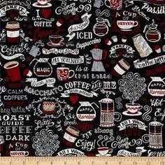 Coffee House Words Charcoal from @fabricdotcom  Designed for Timeless Treasures, this cotton print fabric is perfect for quilting, apparel, and home decor accents. Colors include black, brown, tan, red, white, and shades of grey.